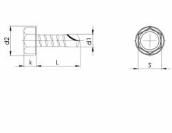 Vis à tôle autoperceuse tête hexagonale DIN 7504K M3.5 X 13mm acier cémenté zingué blanc