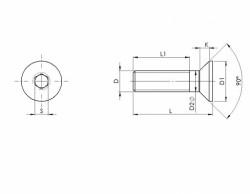 Vis tête fraisée 6 pans creux DIN 7991 M16 X 2.00 X 100mm cl.10.9