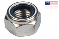 Ecrou hexagonal autofreiné (anneau non metallique) 7/16NF- 20 filets acier zingué blanc Loc-King