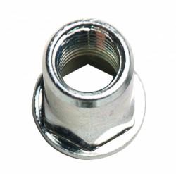 Ecrou à sertir tête semi-hexagonale , lisse débouchant M4 épaisseur à sertir 0.5 à 3mm acier zingué blanc