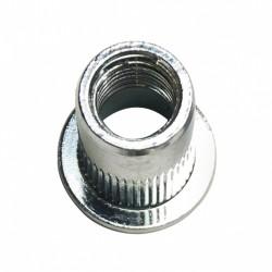 Ecrou à sertir tête cylindrique plate , moleté débouchant M10 épaisseur à sertir 0.5 à 3mm acier zingué bla