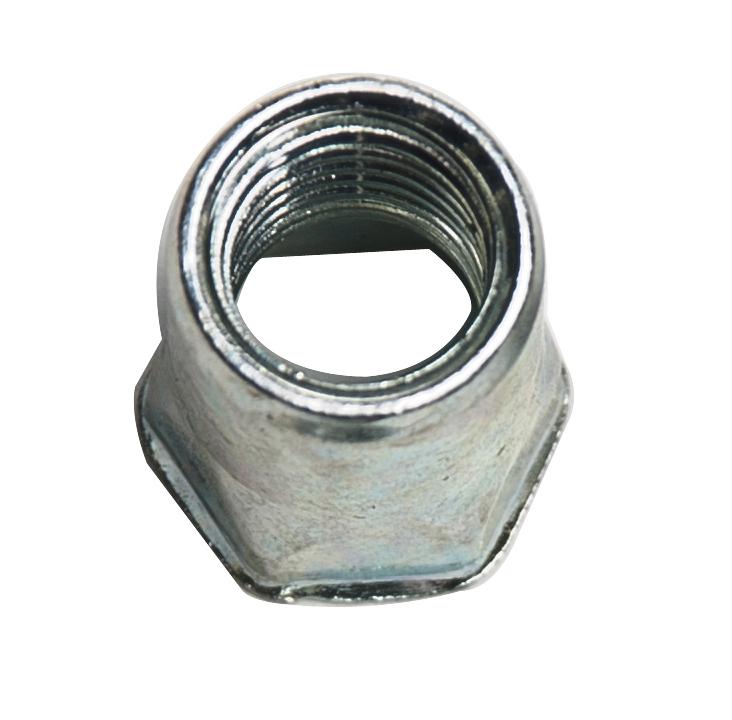 Ecrou à sertir tête hexagonale réduite , lisse débouchant M10 épaisseur à sertir 0.8 à 4mm acier zingué blanc