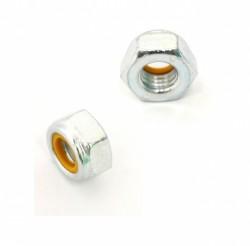 Ecrou de sécurité à bague plastique DIN 985 M10 X 1.50 acier cl.l8l zingué blanc