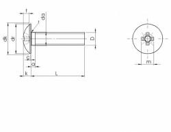 Vis métaux à tête ronde large Poêlier empreinte Pozidriv Z inox A2