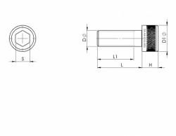 Vis tête cylindrique 6 pans creux série 1960 ANSI B.18.3  3/8NC X 16 filets  X 1