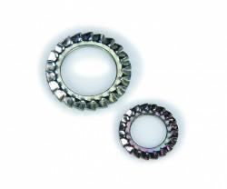 Rondelle à dents extérieures chevauchantes «forme plane» NFE 27624 6mm acier XC60 zingué blanc