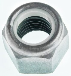 Ecrou hexagonal autofreiné (anneau non metallique) M10 X 1.50 acier classe 8 zinc nickel gris NYLSTOP®