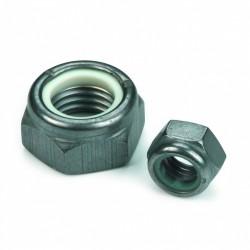 Ecrou hexagonal bas autofreiné (anneau non métallique) NFE 25412 M8 X 1.25 acier cl.8 Zinc nickel gris NYLSTOP®
